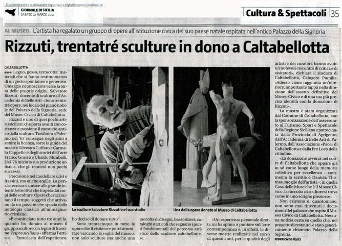 Rizzuti, trentatré sculture in dono a Caltabellotta